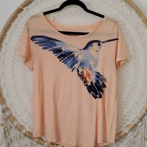 Lucky Brand 100% Cotton  humming bird Tee Shirt S